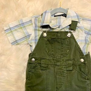 Plaid Button Up with Navy Green Overalls